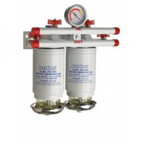 Vattenavskiljande bränslefilter CE/ABYC, dubbel, 10 micron, max. 84 g/h (380 l/h)