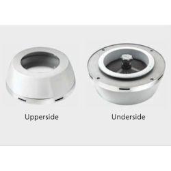 Doradebox i rostfritt stål för ventil med invändig D. 125 mm inkl. tallriksventil