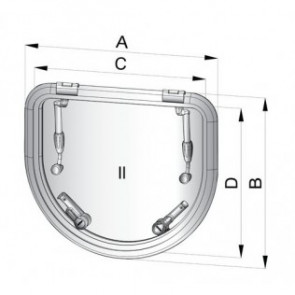 Altus utrymningslucka typ D520 (håltagningsmått: 518 x 450 mm)