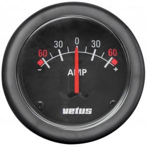 Amperemätare, 12/24 V, enpol, (+/- 60A), håltagnings D. 52 mm