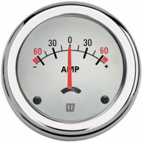 Amperemätare, med vit tavla, 12/24 V, enpol, (+/- 60A), håltagnings D. 52 mm