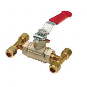 """Förbiledningsventil """"By-pass"""" för 10 mm ledning passande COPPER10 eller HHOSE6015-30-50-100 nylonslang"""
