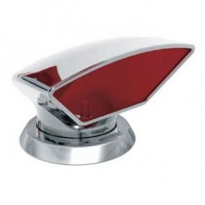 Däcksventilator typ Donald i rostfritt stål 316, röd insida (inkl gängad ring och fäste på däck)