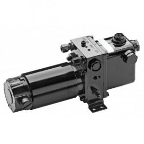 Elektrohydraulisk pump typ DR, 1900 cc/min 12 V, försedd med pump av kugghjulstyp och anslutningar för 10 mm ledning (exkl. back- och förbiledningsventil)