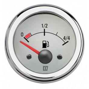 Instrument för bränsletank, med vit tavla, 12 V, håltagningsmått. D: 52 mm (exkl. givare)