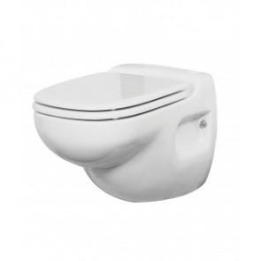 Väggmonterad toalett med 12 volts pumpsystem