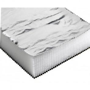 Ljudisoleringsmatta i glasull 1200 x 800 x 40 mm, aluminiumbelagd yta (pris/skiva)