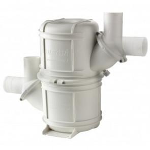 Vitt HD vattenlås i komposit typ NLP90HD. Roterbara stosar för slang med i.d. 90 mm