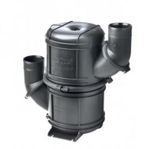 Svart HD vattenlås i komposit typ NLP60HD. Roterbara stosar för slang med i.d. 60 mm