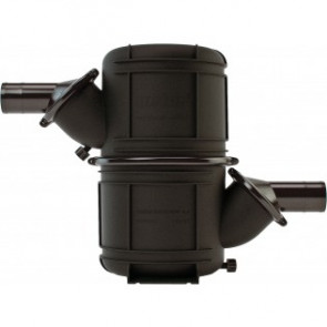 Svart HD vattenlås i komposit typ NLP90HD. Roterbara stosar för slang med i.d. 90 mm