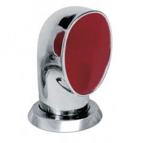 Däcksventilator typ Jerry i rostfritt stål 316, röd insida (inkl gängad ring och fäste på däck)
