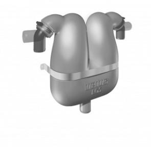 Avgas/vattenseparator med roterbara stosar för 45 mm avgasslang och 38 mm dränering för vattnet