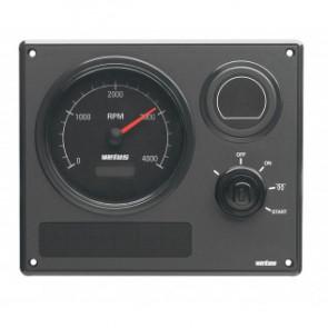 Motorinstrumentpanel typ MP21, 12V, 1 varvräknare med svart tavla (0-4000 rpm)