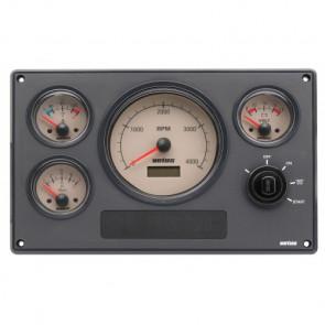 Motorinstrumentpanel typ MP34, 12V, 4 instrument med gräddvita tavlor (0-4000 rpm)