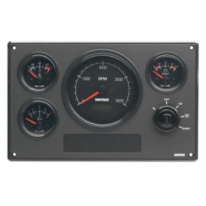 Motorinstrumentpanel typ MP34, 12V, 4 instrument med svarta tavlor (0-4000 rpm)
