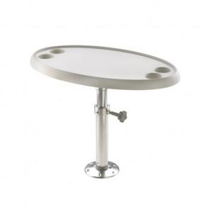 Ovalt bord, 76 x 45 cm, med juster- och demonterbar piedestal samt basplatta, höjd 68 cm