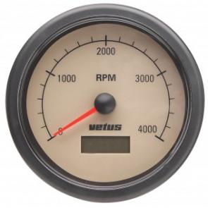Varvräknare med inbyggt räkneverk för gångtimmar 12/24 V, (0-4000 RPM), håltagnings D. 100 mm
