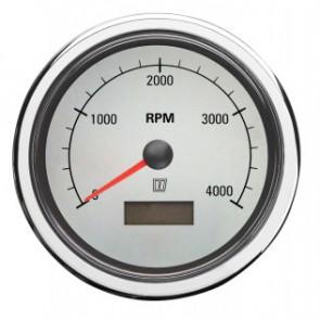 Varvräknare med inbyggt räkneverk för gångtimmar, med vit tavla, 12/24 V, (0-4000 RPM), håltagnings D. 100 mm