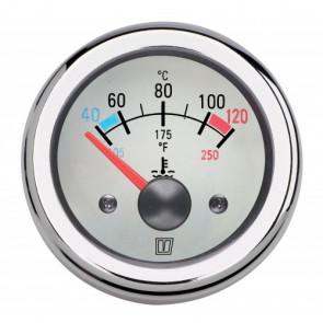 Motortemperaturmätare, med vit tavla, 12 V (40-120°C), håltagnings D. 52 mm