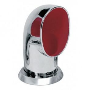 Däcksventilator typ Tom i rostfritt stål 316, röd insida (inkl gängad ring och fäste på däck)