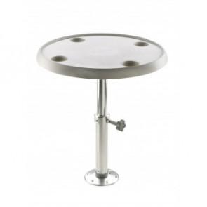 Runt bord, D 60 cm, med justerbar piedestal samt basplatta, höjd 50-70 cm