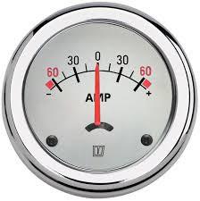 Amperemätare med separat shunt, beige, 12/24 V, enpol, (+/- 100A), håltagnings D. 52 mm