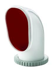 Däcksventilator typ Samoen S, i silikon med röd insida, i.d. 125 mm (inkl, gängad ring)
