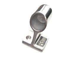 Bakre beslag i rostfritt stål för grabbräcke med D. 25 mm