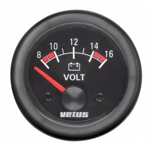 Voltmeter , 12 V (10-16V), håltagnings D. 52 mm