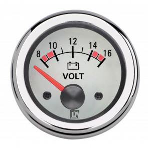 Voltmeter, med vit tavla, 12 V (10-16V), håltagnings D. 52 mm