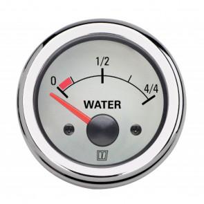 Instrument för vattentank, med vit tavla, 12 V, håltagningsmått. D: 52 mm (exkl. givare)