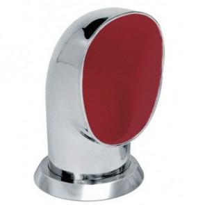Däcksventilator typ Yogi i rostfritt stål 316, röd insida (inkl gängad ring och fäste på däck)
