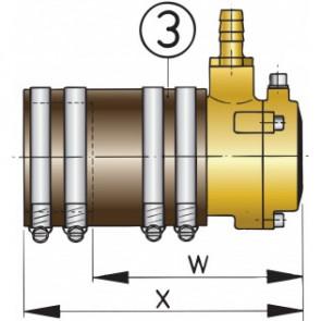 Vattensmort innerlager i brons med dubbla tätningar, för 50 mm axel